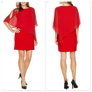 Red Party Dress 3/4 Sleeve Beaded Sheath Sz 12 NWT